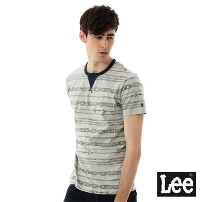 Lee 印花假V領短袖T恤RG-男款-灰色