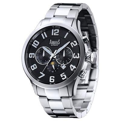 ARBUTUS 愛彼特自信風範三眼機械手錶-黑X銀/44mm