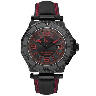 Gc 陽剛美學運動潛水腕錶-IP黑x紅/46mm