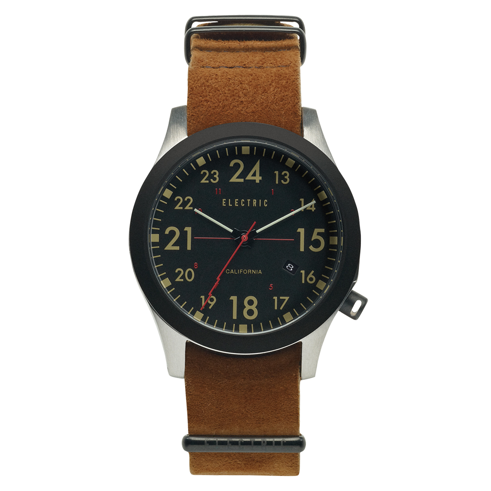 ELECTRIC FW01系列-摩登雅痞風潮腕錶-黑面x棕色麂皮帶/40mm