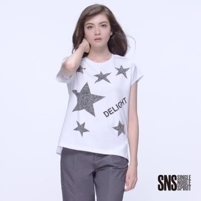 SNS 閃耀星星圖騰鑲鑽造型落肩設計上衣(2色)