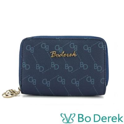 Bo Derek 經典monogram設計款雙拉鍊小錢包-深藍