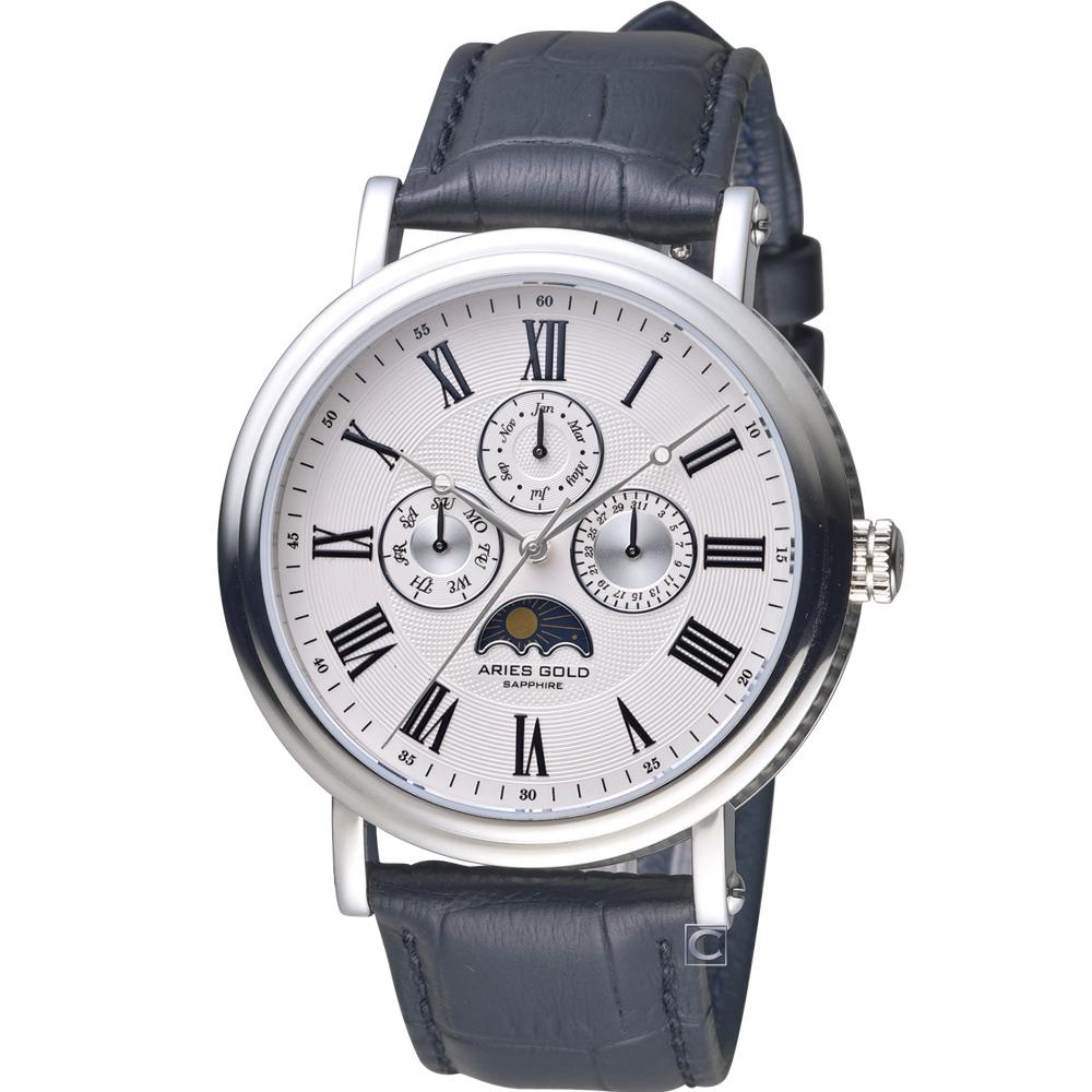 Aries Gold 雅力士城市系列英倫美學手錶-白x黑色錶帶/43mm