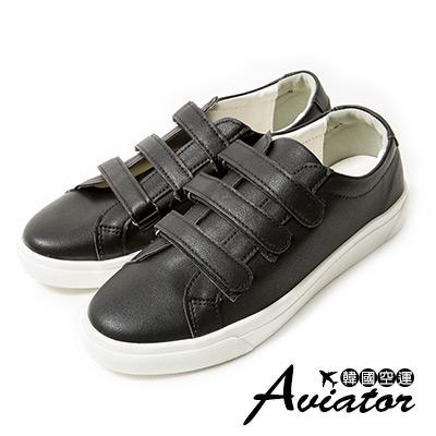 Aviator*韓國空運。正韓製皮革三帶魔鬼氈小白鞋-黑