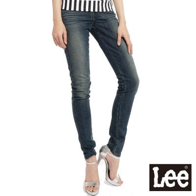 Lee-牛仔褲418-低腰緊身窄管-女款-中古藍
