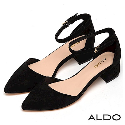 ALDO 原色繫踝金屬釦帶尖頭復古粗跟鞋~尊爵黑色