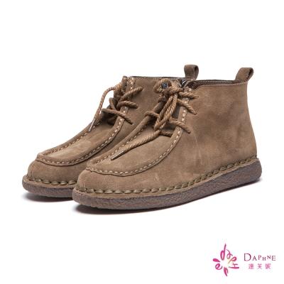 達芙妮DAPHNE-短靴-麂皮綁帶袋鼠鞋-駝8H