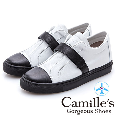 Camille's 韓國空運-正韓製-牛皮魔鬼氈撞色休閒鞋-白色