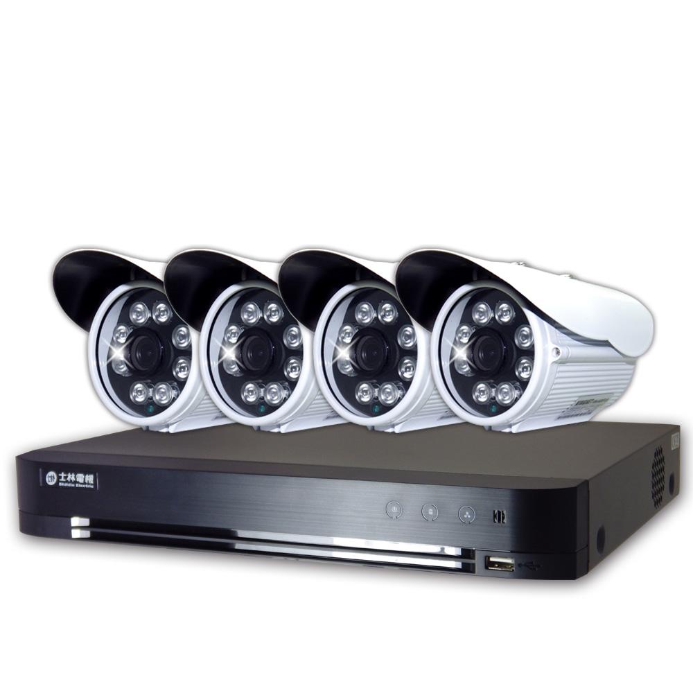 士林電機1080P 8路監控主機+4支8陣列紅外線槍型攝影機