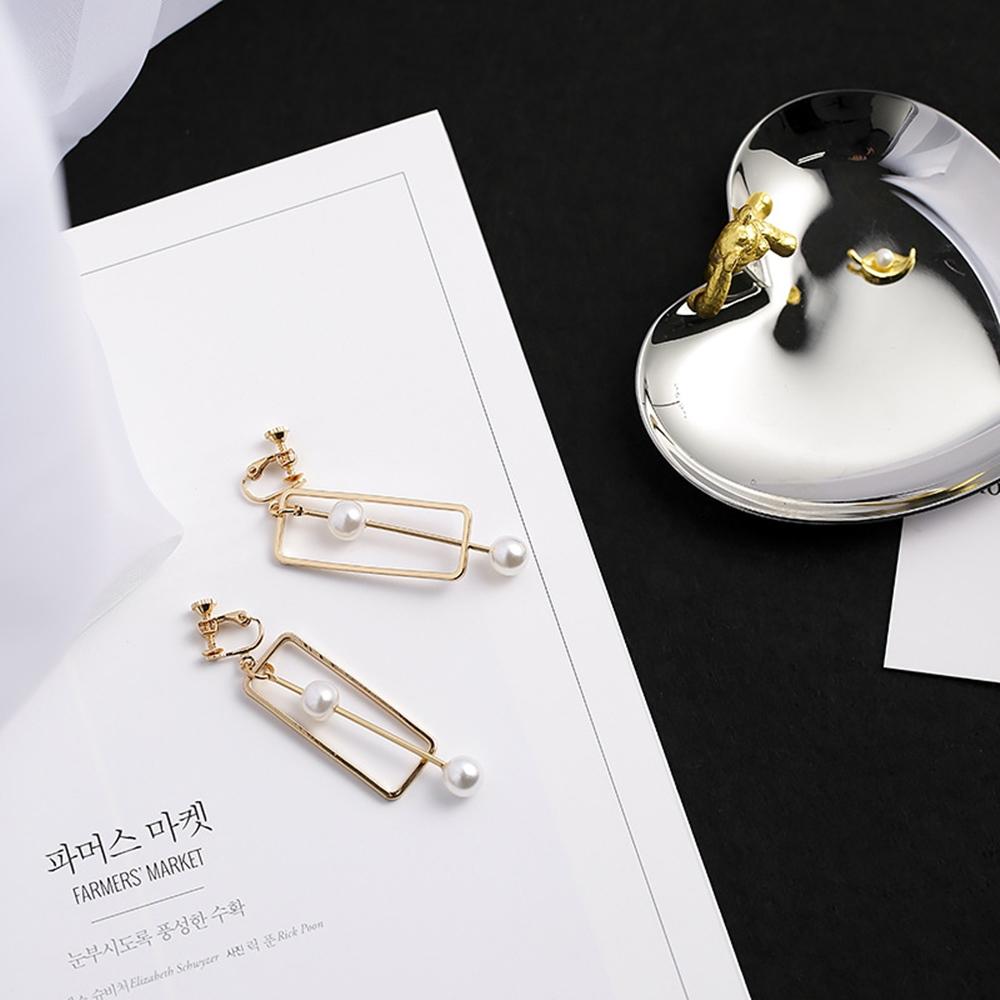 梨花HaNA無耳洞韓國手作方框棒狀珍珠几何耳環夾式8H急速配