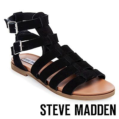 STEVE MADDEN-DIEGO 魚骨編織羅馬涼鞋-黑色