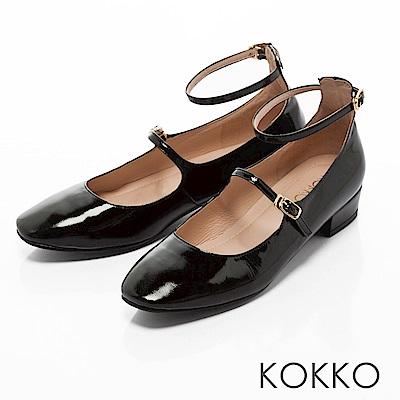 KOKKO - 復古美學方頭瑪莉珍真皮跟鞋-經典黑