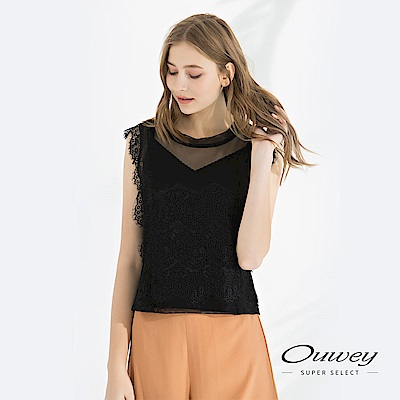 OUWEY歐薇 性感蕾絲兩件式短版無袖上衣(黑)