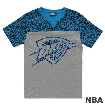 NBA-奧克拉荷馬雷霆隊豹紋剪接短袖T恤-藍灰(男)