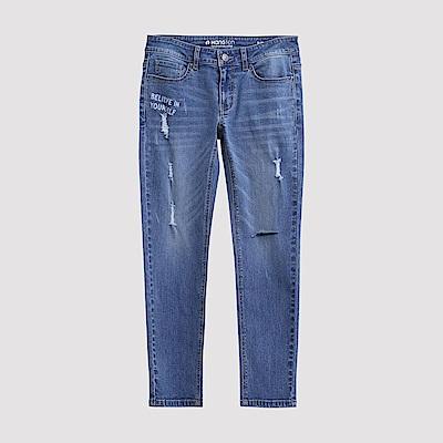 Hang-Ten-女裝-刷色磨破窄管牛仔褲-水藍