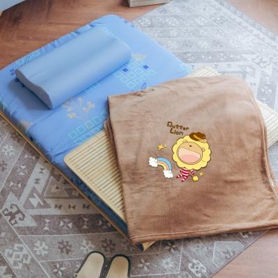 米夢家居-MIT天然竹面熱烘棉單人床墊+薰衣草記憶枕+珊瑚絨毯(彩虹牛仔)外宿三件組