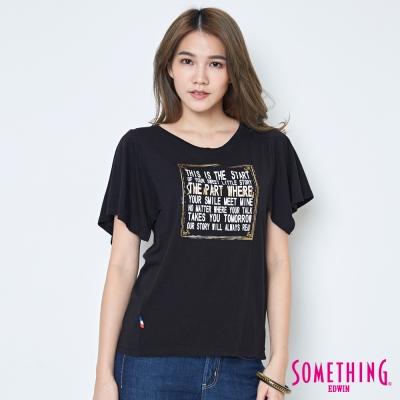 SOMETHING 寬袖時尚造型T恤-女-黑色
