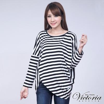 Victoria 條紋剪接寬鬆變化T-女-黑白