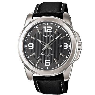CASIO 簡約經典時尚指針日曆皮帶腕錶(MTP-1314L-8)灰面X黑色/44.9mm