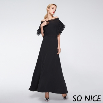 SO NICE浪漫壓褶荷葉袖洋裝