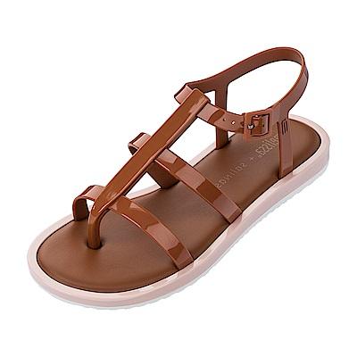 Melissa 撞色羅馬平底涼鞋-咖/粉/白