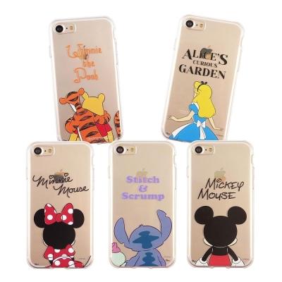 Disney迪士尼 iPhone7 可愛透明保護軟套-背影系列