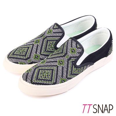 TTSNAP樂福鞋-MIT圖騰編織懶人鞋 綠