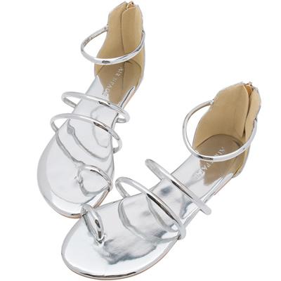 AIR SPACE  金屬光感細帶套趾涼鞋(銀)