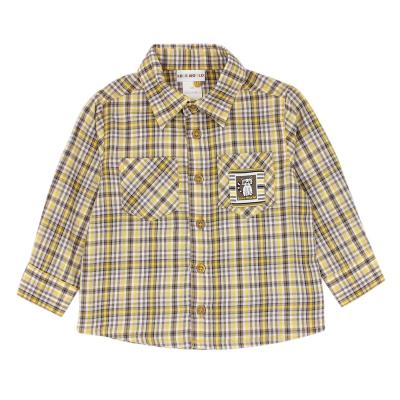 愛的世界 純棉浣熊印圖口袋格紋長袖襯衫/6~12歲