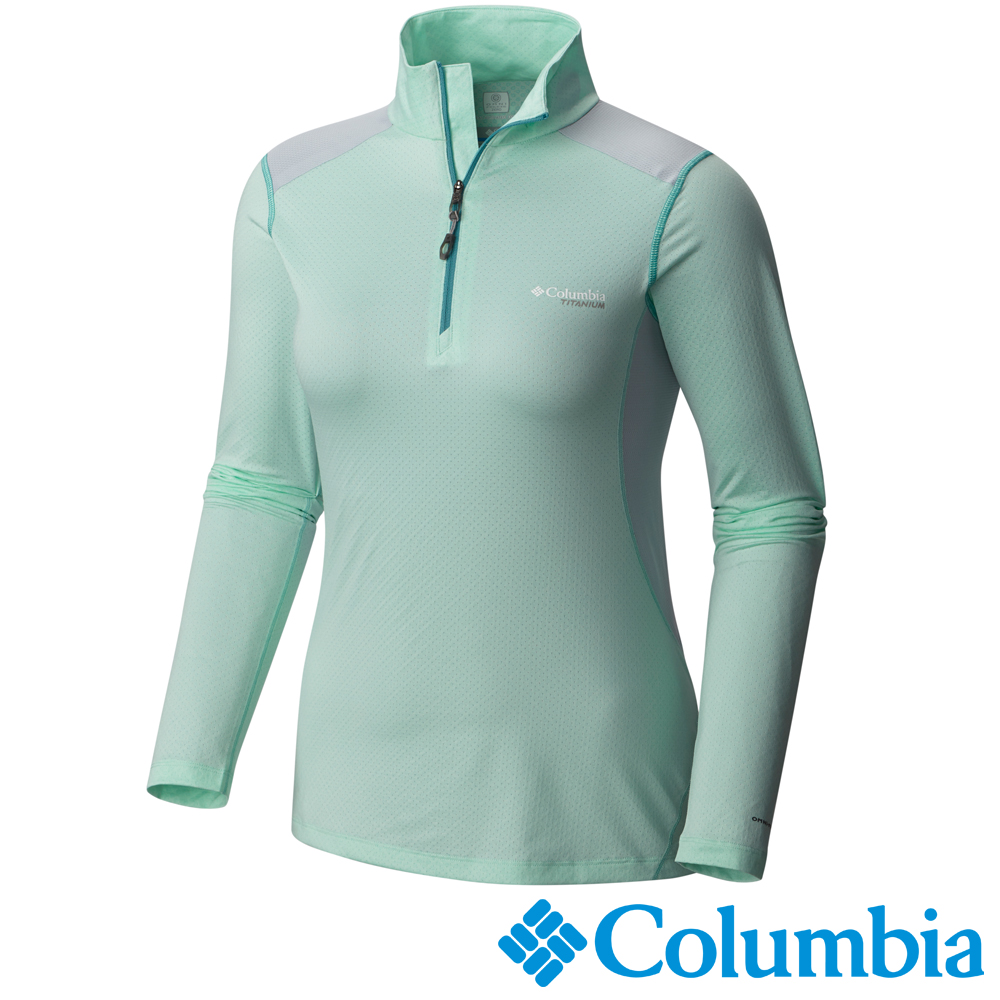 【Columbia哥倫比亞】女-鈦 酷涼快排立領長袖上衣-綠 UAL54180HM