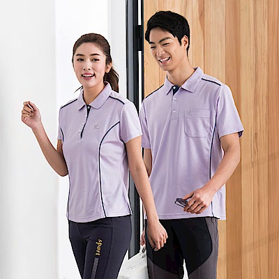 LEIDOOE紫底藍邊線女款短袖polo衫16697