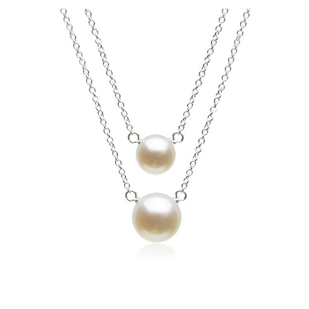 Dogeared pearls of 大小白珍珠 銀色許願項鍊對組 附原廠盒