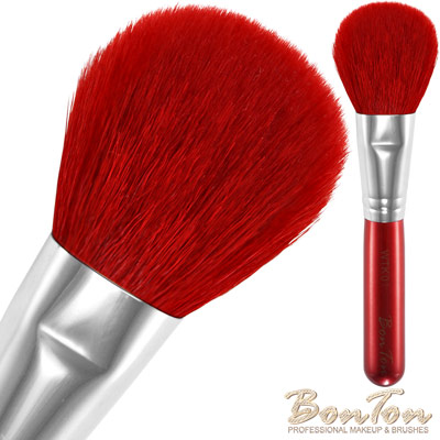 BonTon 湛紅短柄 扁蜜粉/腮紅刷 WTK01 特級尖峰紅羊毛