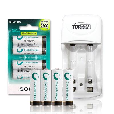 SONY 3號2500mAh充電電池(4顆入)+TOP智能雙迴充電器