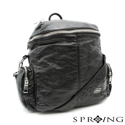 SPRING-探索小世界水洗皮兩用包-經典黑