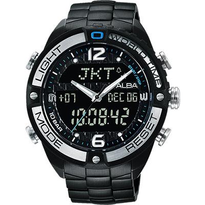 ALBA 雅柏 W兩個世界雙顯腕錶(AZ4015X1)-黑/44mm