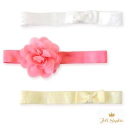 Joli Sophie 美國 珊瑚粉花朵白黃蝴蝶結髮帶3入組