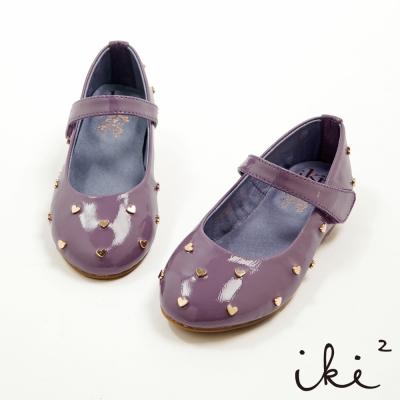 iki2童鞋 甜心下午茶系列-真皮夢幻公主愛心滿點娃娃鞋-寶貝紫