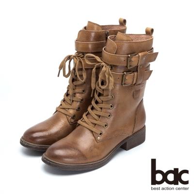 bac率性軍裝風 經典造型牛皮低跟軍靴-棕色