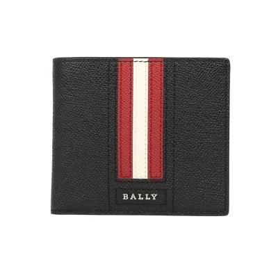 BALLY 防刮皮革撞色對折短夾(黑/紅)