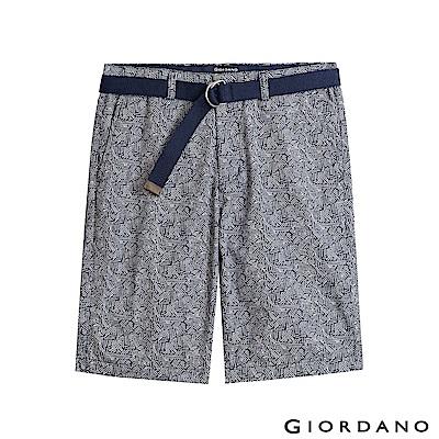 GIORDANO   男裝附腰帶個性印花五分褲-46 海軍藍X白