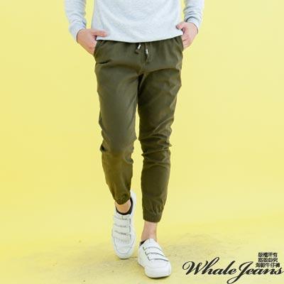 WHALE JEANS 男款百搭學仕束腳素色多口袋休閒中腰長褲-3色