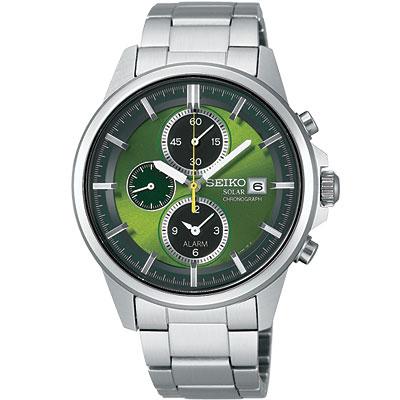 SEIKO SPIRIT 太陽能鬧鈴兩地時間計時腕錶-潮綠/40mm