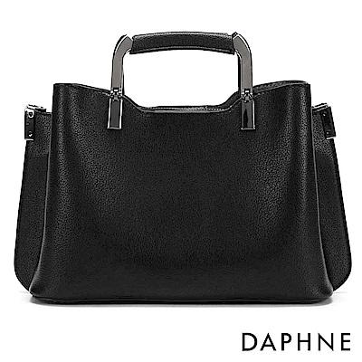 達芙妮DAPHNE-金屬提把素面手提斜背小方包-黑