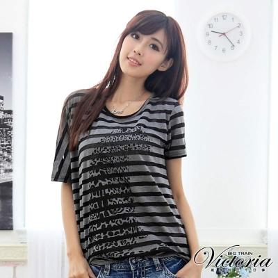 Victoria 條紋不對稱袖TEE-女-黑