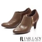 Fair Lady 摩登金屬鏈拼革尖頭踝靴 橄欖綠
