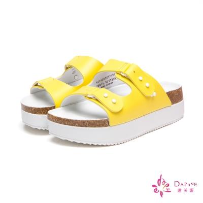 達芙妮DAPHNE-清甜沁夏純色雙扣帶鬆糕厚底寬版