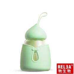 香港RELEA物生物 小可耐熱玻璃保溫杯附防燙杯套350ml(薄荷綠)