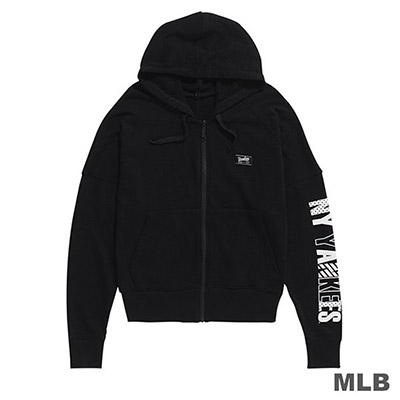 MLB-紐約洋基隊俏皮印花可拆帽外套-黑 (女)