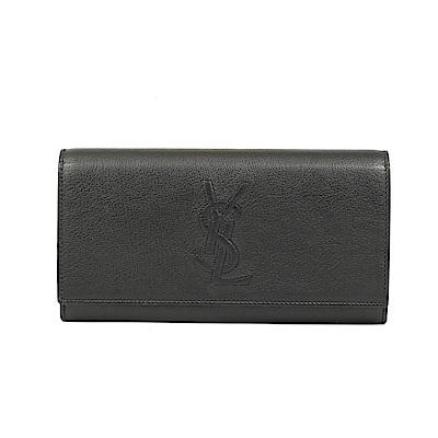 YSL Saint Laurent 經典LOGO全皮革釦式長夾(黑色)